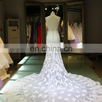 2016 Alibaba China manufacture applique long tail fish cut mermaid evening wedding dress hot sell high quality women dresses