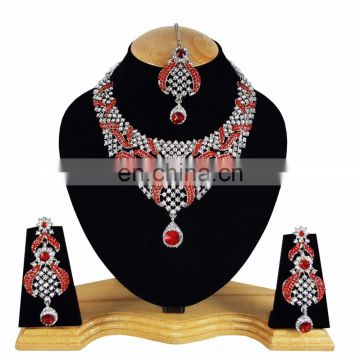 Designer Silver Plated Indian Handmade Party wear Kundan Zerconic Necklace set Red Color