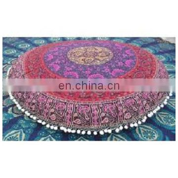 Pouf Cover Pouffe Home Decor Cotton Floral India Traditional Footstool Ethnic Pouf Cover Pink Mandala Tapestry Ottoman Cover