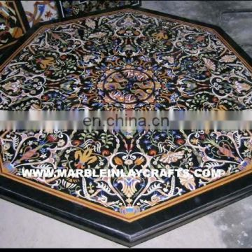 Marble Inlay Dining Table Top With Semi Precious Stone Inlay