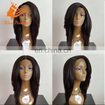 Long Bob Remy Brazilian Human Hair Full Lace Wig Glueless Hot German Lace Wig Free Parting Natural Straight With Side Part