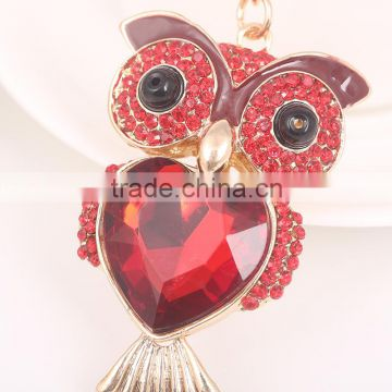 High End Key Chain With Zin Alloy Metal Big Stone Owl Pendant Women Bag Accessories Gift