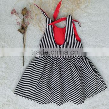 Yiwu factory supply Wholesale smocked dresses Deep back design kids clothes striped baby dress