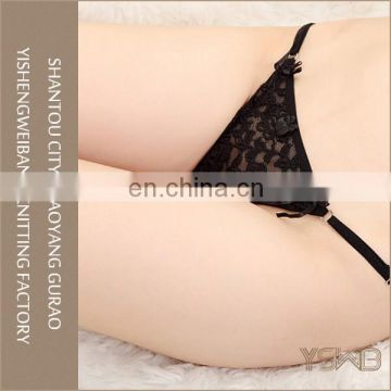 Young lady sexy mature anti-bacterial lace mesh transparent g-string panty
