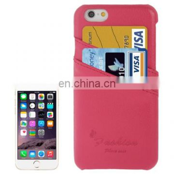 Litchi Texture Genuine Leather Back Cover Case with Card Slots and Fashion Logo for iPhone 6(Magenta)