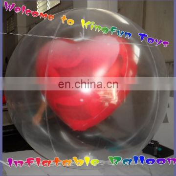 Double layer helium inflatable heart for valentine's Day