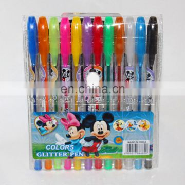wholesale high quality gel ink pen stationery set with pvc colr and assorted color including neon/glitter/metallic/fluorescent