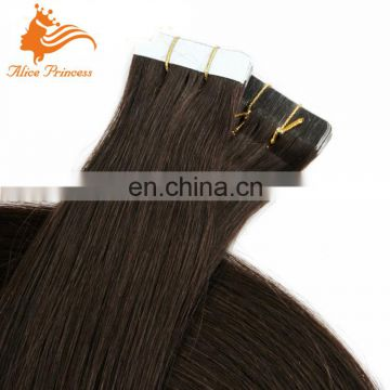 Tape Hair Extension #2 Dark Brown Remy Human Hair Tape Extensions Invisible Skin Weft Silky Straight Peruvian Human Hair