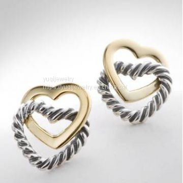 Gold Plated Silver Jewelry Cable Heart Linked Heart Earrings(E-111)