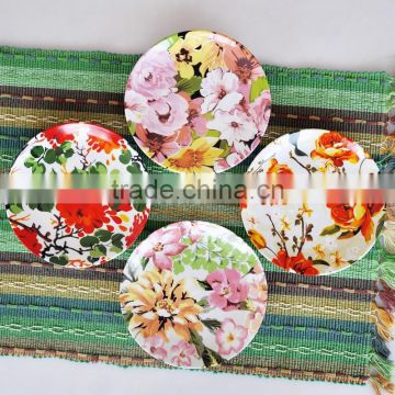 Set of 4pcs porcelain plate with floral design and hat box