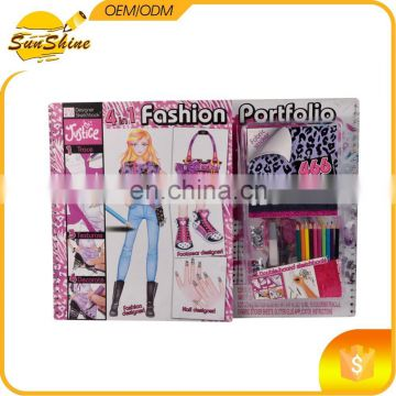4 in 1 fashion portfolio with sticker sheets,pencils,Glitter glue applicator and instructions