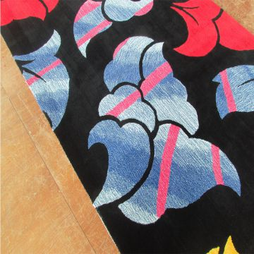 Black Red And Blue Floral Pattern Wall To Wall Carpet Luxury Wool Carpet Living Room