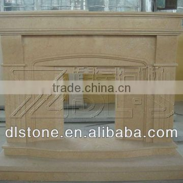 Yellow travertine stone fireplace