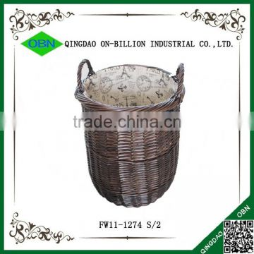 Hotel dark brown wholesale quantity wicker commercial laundry basket