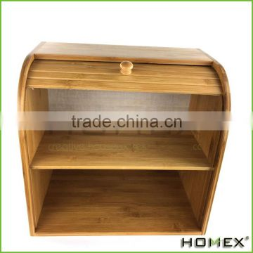 Bamboo kitchen rolltop bread box/ double bread box Homex-BSCI