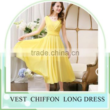2016 Summer Hot sale Sleeveless V neck Long dress skirt for girls beach dress