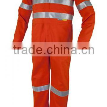 Orange Reflective Safety Workwear Coveralls One Piece Hoodies Protective Clothing