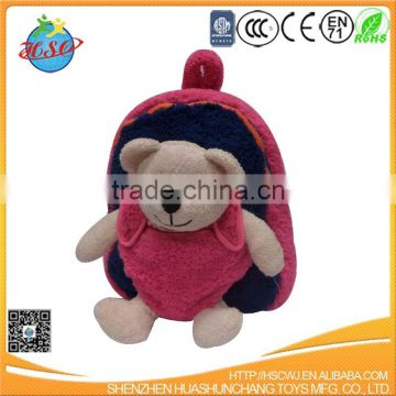 custom high quality plush teddy bear with plush backpack for child
