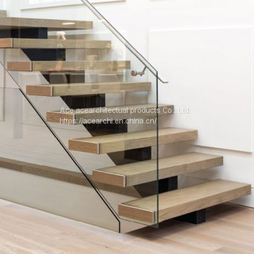 Indoor carbon steel mono stringer straight stair tread brackets with solid wooden staircase steps