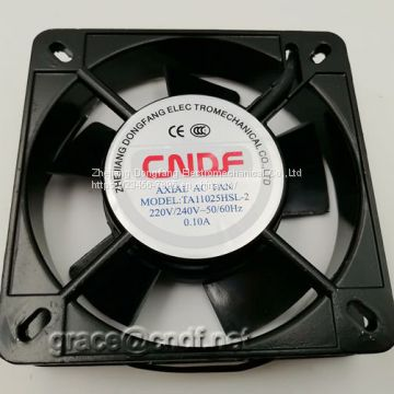 CNDF TA11025HSL-1  110x110x25mm 110/120VAC  0.16/0.15A 17/16W 2100/2400rpm cooling fan