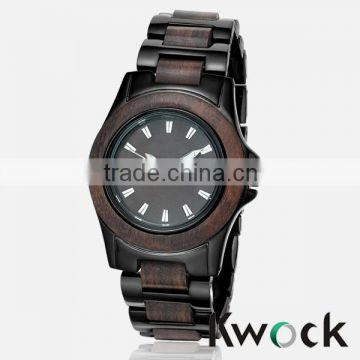 New Kwock Lady Blackwood Quartz Watch Natural Wood Stainless Steel Timepiece