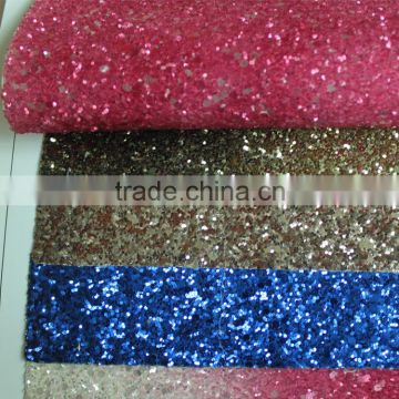 Glitter fabric for hair ring upholstery and decorative grade 3 chunky glitter leather for wall paper