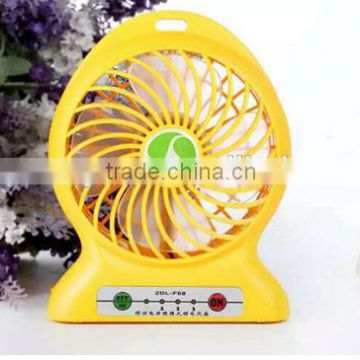 Portable Fan 4 inch 3 Speeds Mini USB Rechargeable Desktop Handheld Vanes Fan With Led Light