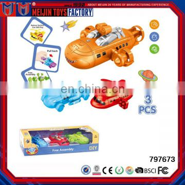 Hot sale intelligent toy DIY pull back assembly ship toy for kids