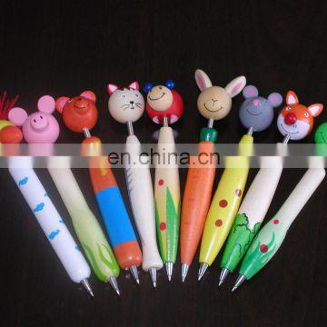 Cartoon Wooden animal design Decor ball pens school