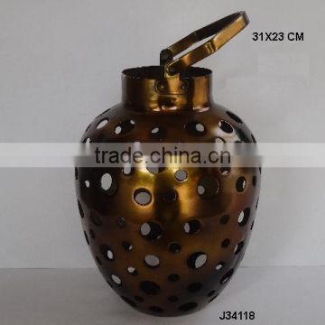 Aluminium vase shape metal Lantern with hand cut round patterns in antique brass