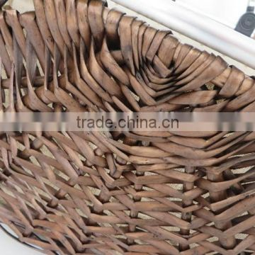 Large size willow shopping basket with handles