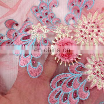 2017 3D flowers embroidery lace fabric african gold tulle lace fabric with beads pink net lace material