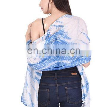 Long Sarong Cotton Hand Block Print Stole Large Beach Pareo Wrap Indigo tie dye