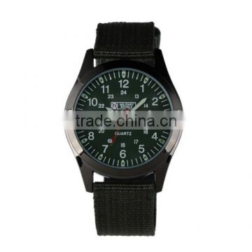 MR059 Men's Boy's Military Green Nylon Fabric Strap Sport Army Watch