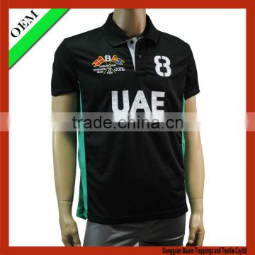 2014 black color printing fashion polo sport t-shirt for men / polyester t shirt