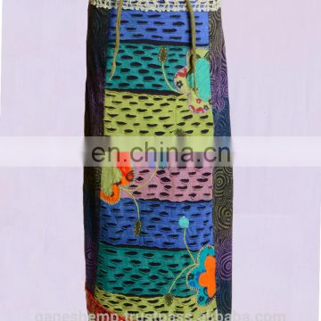 Multicolored Razor Cut Patched Prints Maxi Dress HHCS 126 C