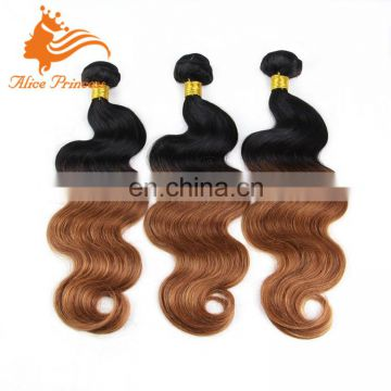 Wholesales Crochet Braid Color Hair Bundles Ombre 1BT30 Virgin Peruvian Human Hair Weft Body Wave Style