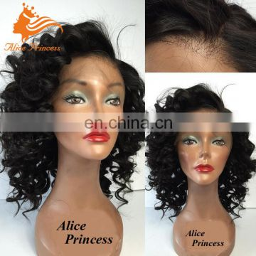New Curly Style Short Women Wigs Free Part Remy Malaysian Hair Front Lace Wig Short Human Hair Wig For Black Women