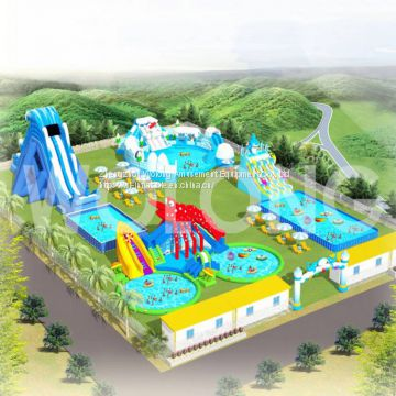 Most Popular Commercial Inflatable Water Park of water slide