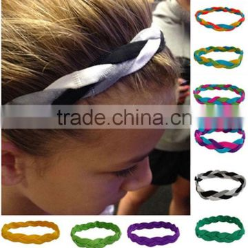 NEW! Red Black Braided Hair Bands Head Under Sweaty Headband Arm Non Slip