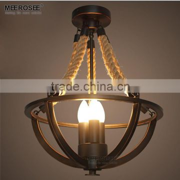 Vintage Rustic 3 lights Hemp Rope chandekier,Loft Industrial Wrought Iron Pendant Light with CE Spareparts MD82067