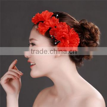 MYLOVE Red Wedding Bridal bridesmaid Pearl Flower Headpiece Hair Pin Hairpin Jewellery MLF127