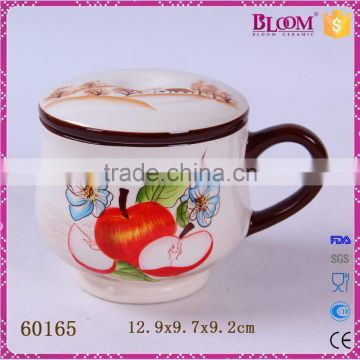 handmade craft round shape ceramic mug with lid