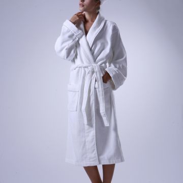 Eliya Luxury 400Gsm Oem 5 Star Hotel Egyptian Cotton  Embroidery Shawl Velour White Hotel Bathrobe