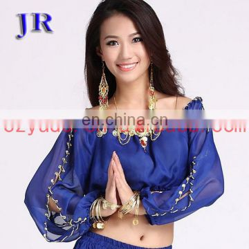 Arabic chiffon sequins handmade belly dance long sleeve tops
