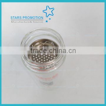 wholesale cylindrical clear water glass bottles with fliter screen