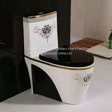 Bathroom Water Closet One Piece Black Color Toilet Bowl