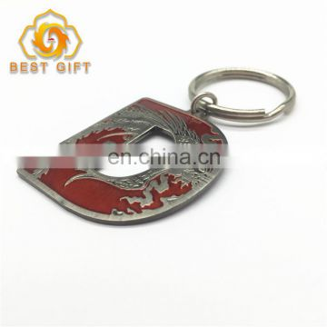 Customized D Shape Plating Red Color Zinc Alloy Key Chain