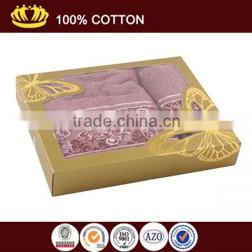 Pure cotton solid color satin gear jaquard gift box packing towel set                                                                         Quality Choice