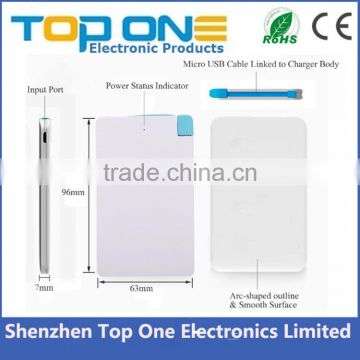 2016 cheap slim power bank 4000mah, credit card power bank, OEM logo printing portable mobile charger
